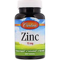 Цинк от Carlson Labs, 15 мг, 250 таблеток
