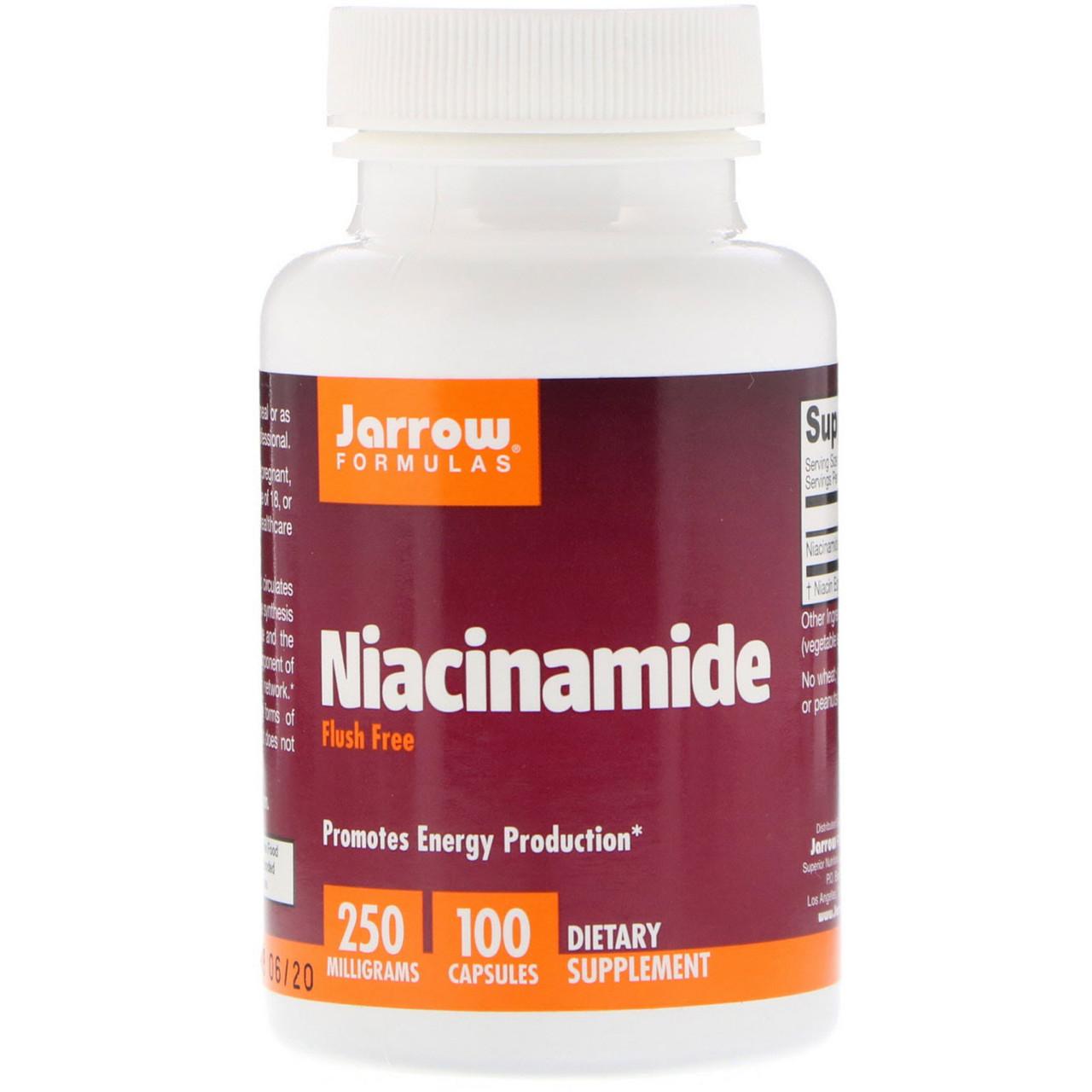 Витамин B3 Никотинамид, 250 мг, Jarrow Formulas, 100 капсул