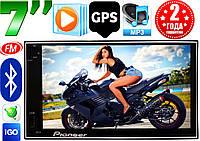 Автомагнитола Pioneer 7024 GPS, 2DIN, BT, SD, USB,AUX,Fm+ПУЛЬТ 4x50W