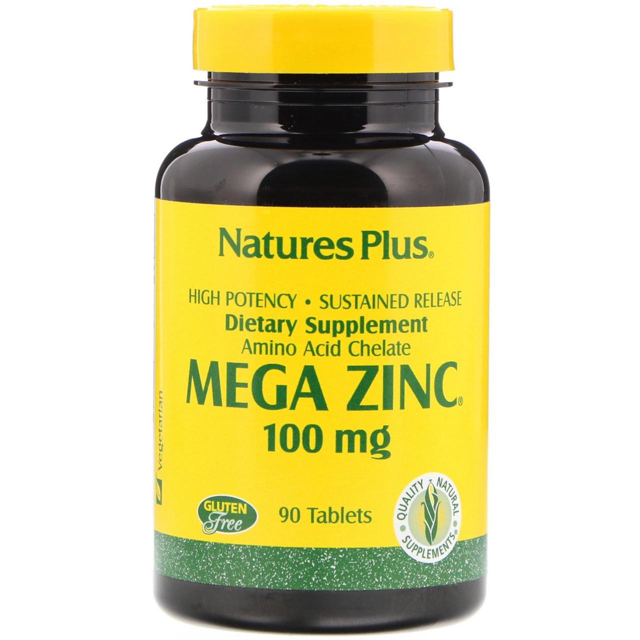 Хелатный Мега цинк Nature's Plus, 100 мг, 90 таблеток