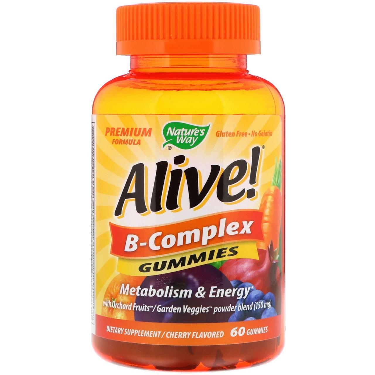 Комплекс витаминов группы В Nature's Way, Alive! вишневый вкус, 60 жевательных таблеток