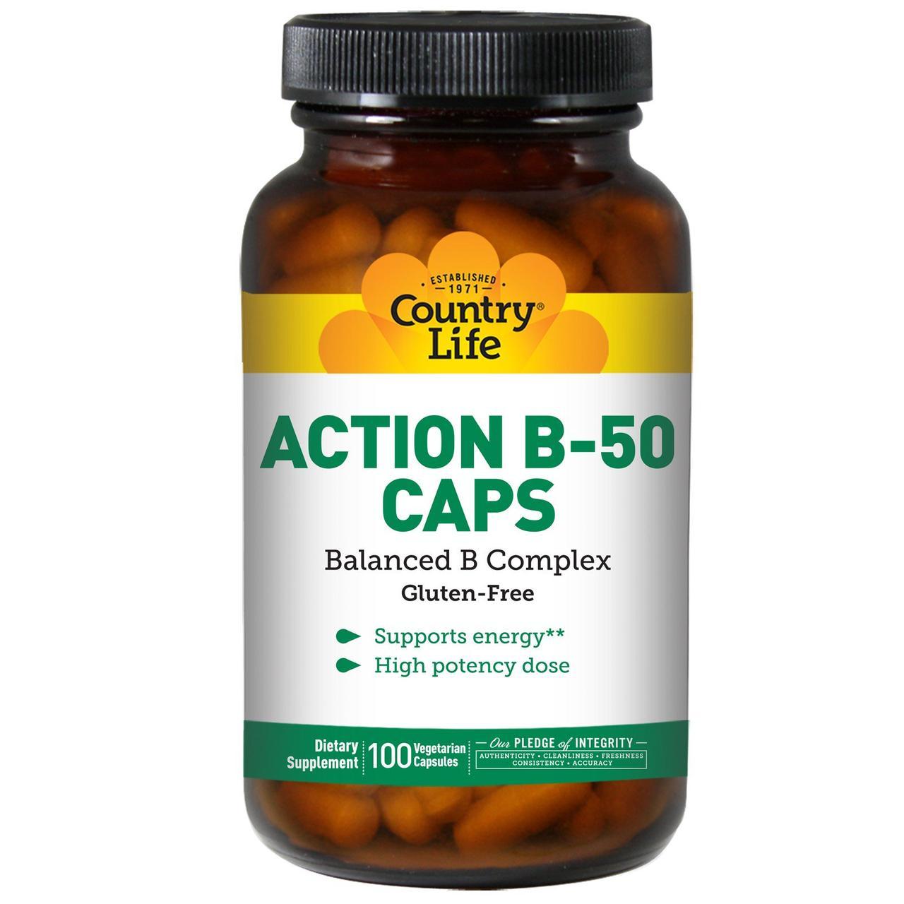 Активный комплекс витаминов B-50 в капсулах Country Life, 100 вегетарианских капсул