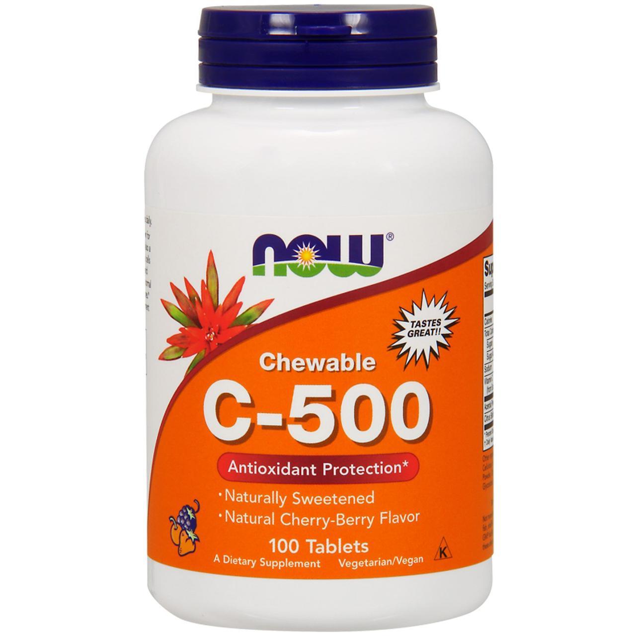 Жевательный витамин C-500 Now Foods, вкус черешни, 100 таблеток
