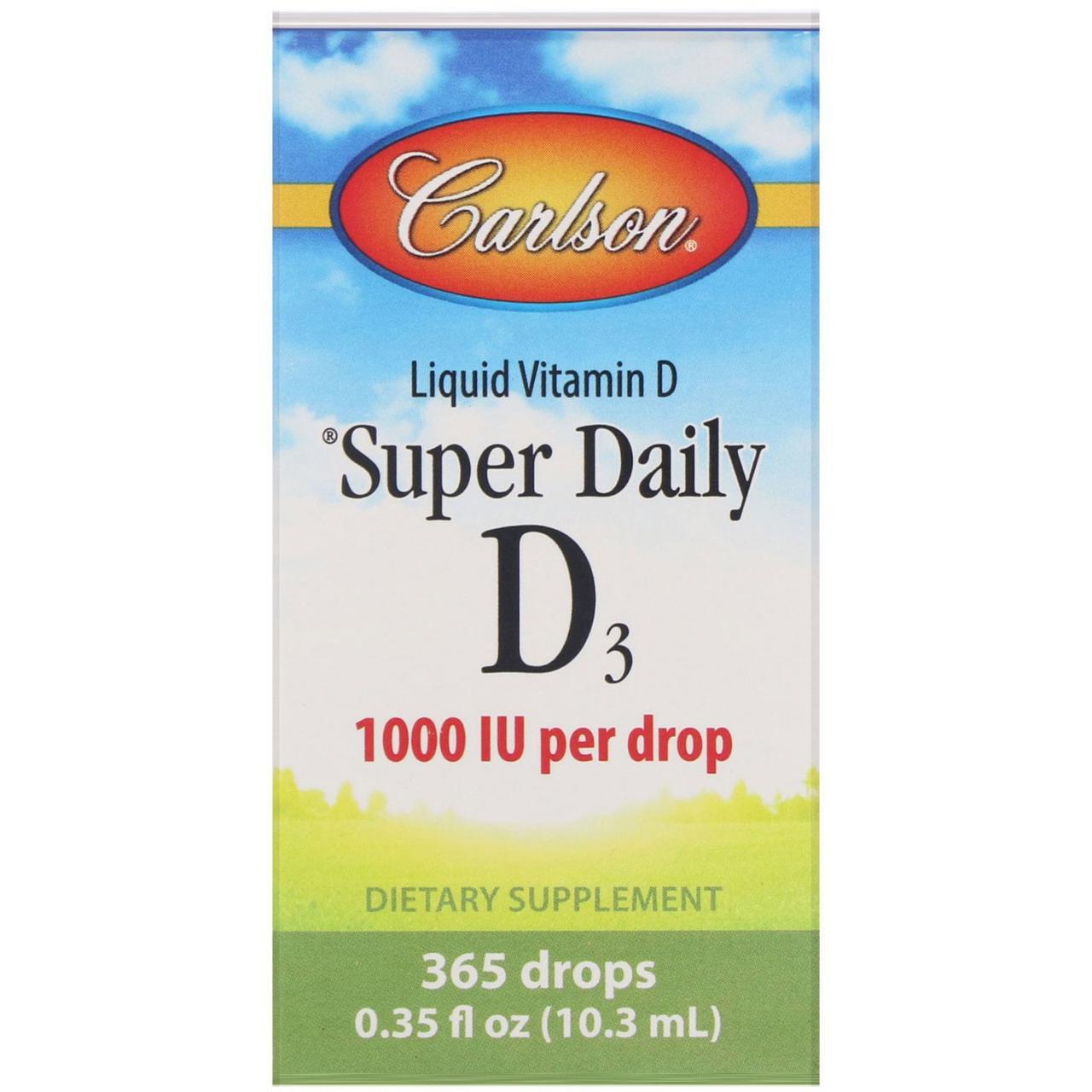 Витамин D3 Carlson Labs, витамины на каждый день, 1000 МЕ, 0,35 жидкой унции (10,3 мл)