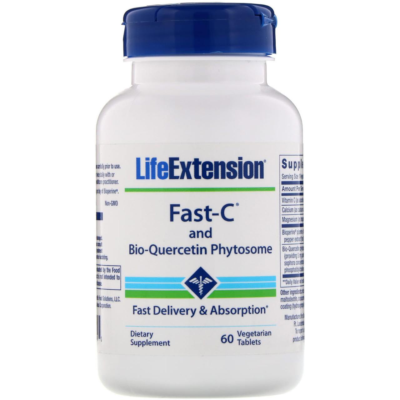 Витамины Fast-C с фитосомами биокверцетина от Life Extension, 60 вегетарианских таблеток