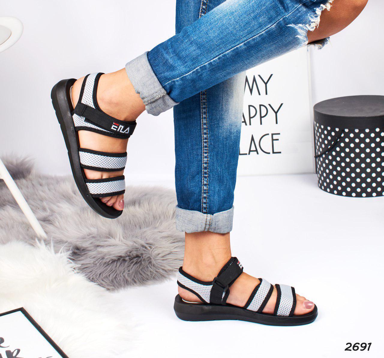 71ea2fb45b59 Спортивные сандалии женские серые на липучках, размеры: 37, 38, 39