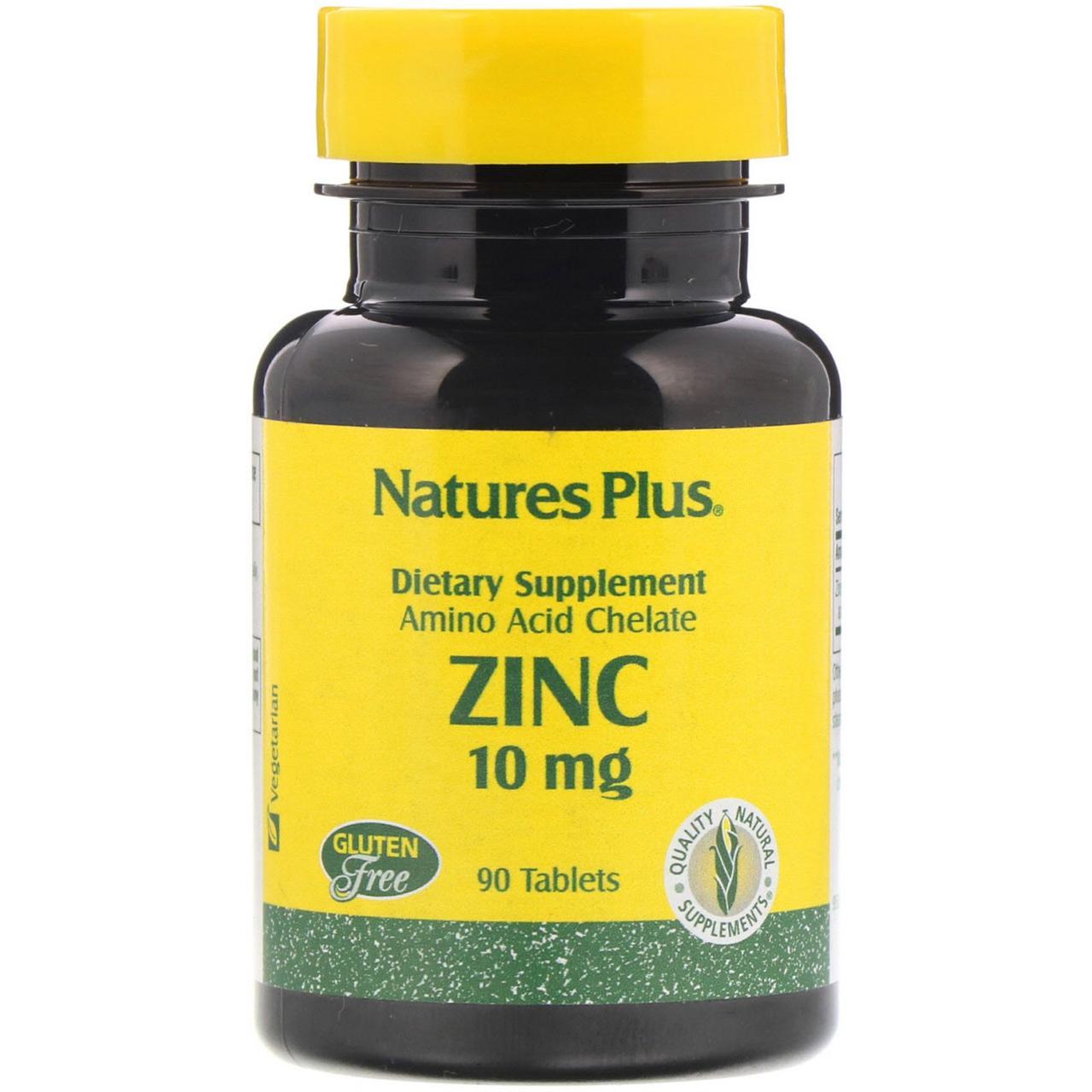 Цинк Nature's Plus (хелат цинка), 10 мг, 90 таблеток