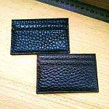 Картхолдер шкіряний на 4 картки, чорний миниформат, фото 6