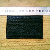 Картхолдер шкіряний на 4 картки, чорний миниформат, фото 7