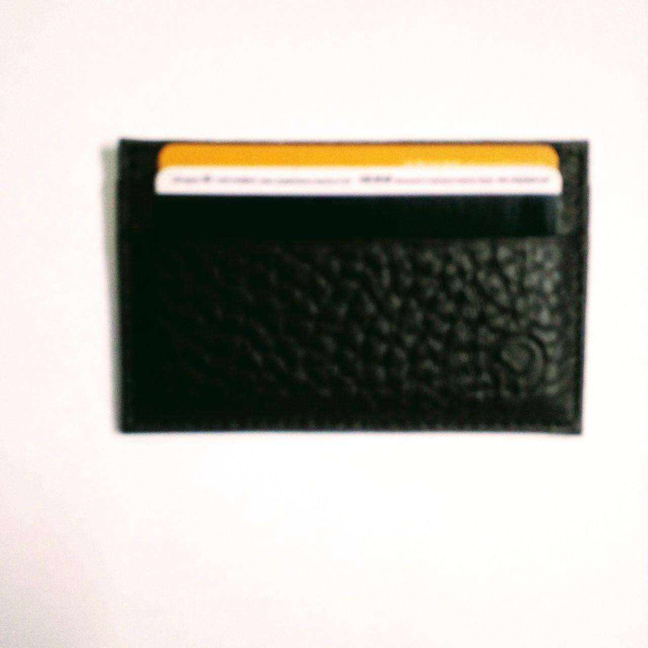 Картхолдер шкіряний на 4 картки, чорний миниформат