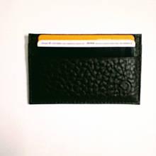 Картхолдер кожаный на 4 карты, черный миниформат