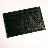 Картхолдер шкіряний на 4 картки, чорний миниформат, фото 10