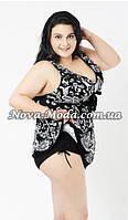 Большой купальник 58 размер (12XL). Черный купальник-платье, стильный танкини для красивых женщин с формами