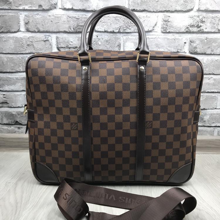 Брендовая сумка для ноутбука Louis Vuitton коричневая кожаная Премиум Качество Луи Виттон Стильная реплика