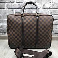 Брендовая сумка для ноутбука Louis Vuitton коричневая кожаная Премиум Качество Луи Виттон Стильная реплика, фото 1