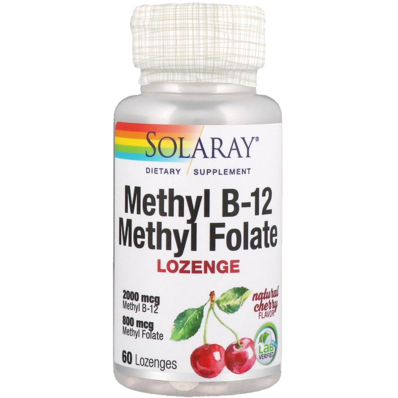 Витамин B-12 Solaray, Метилфолат, натуральный вишневый вкус, 60 леденцов