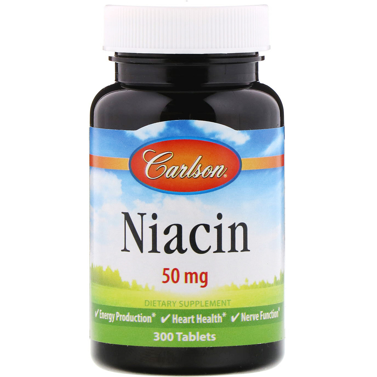 Ниацин Carlson Labs, витамин В-3, 50 мг, 300 таблеток