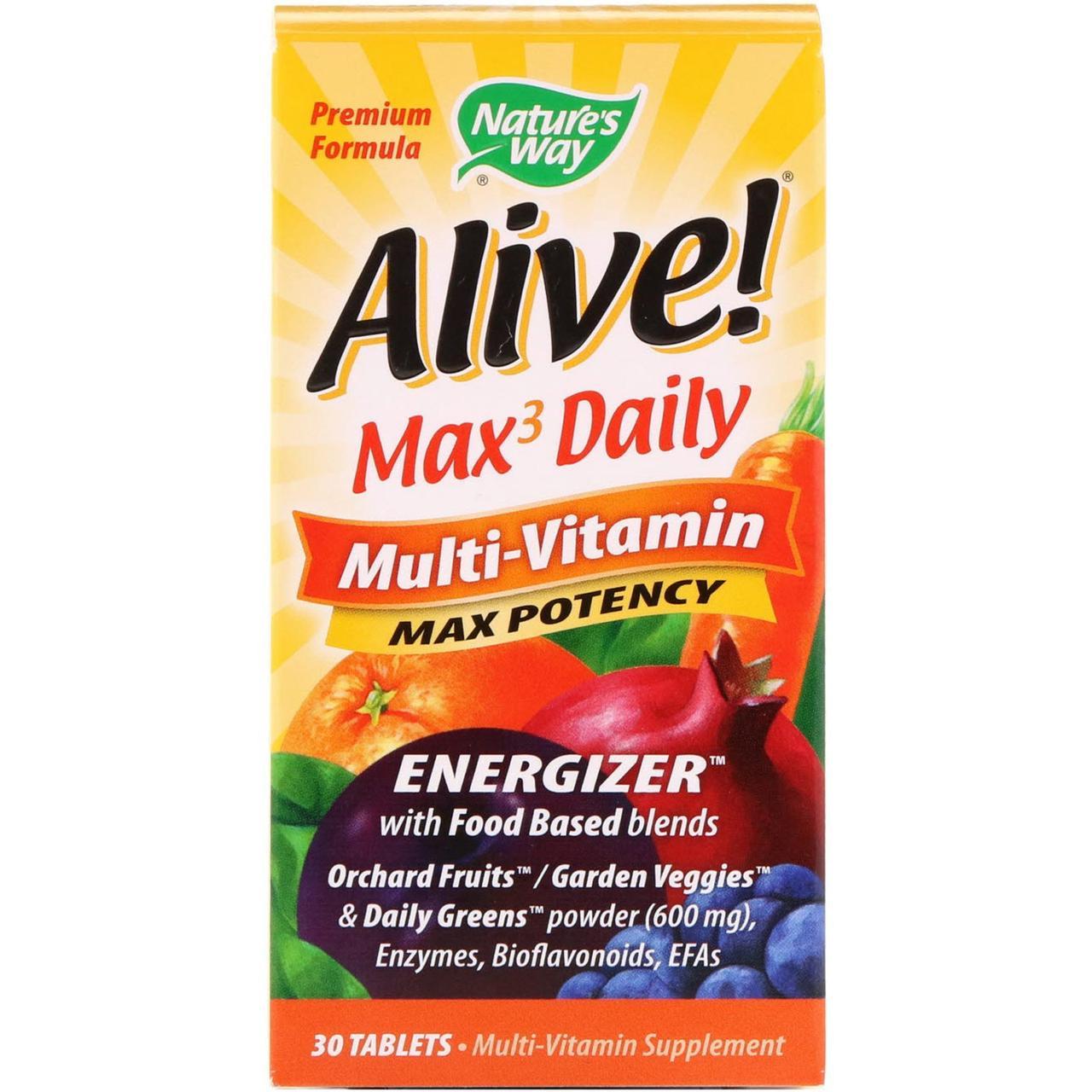 Мультивитамины Nature's Way, Alive!, витамины на каждый день, 30 таблеток