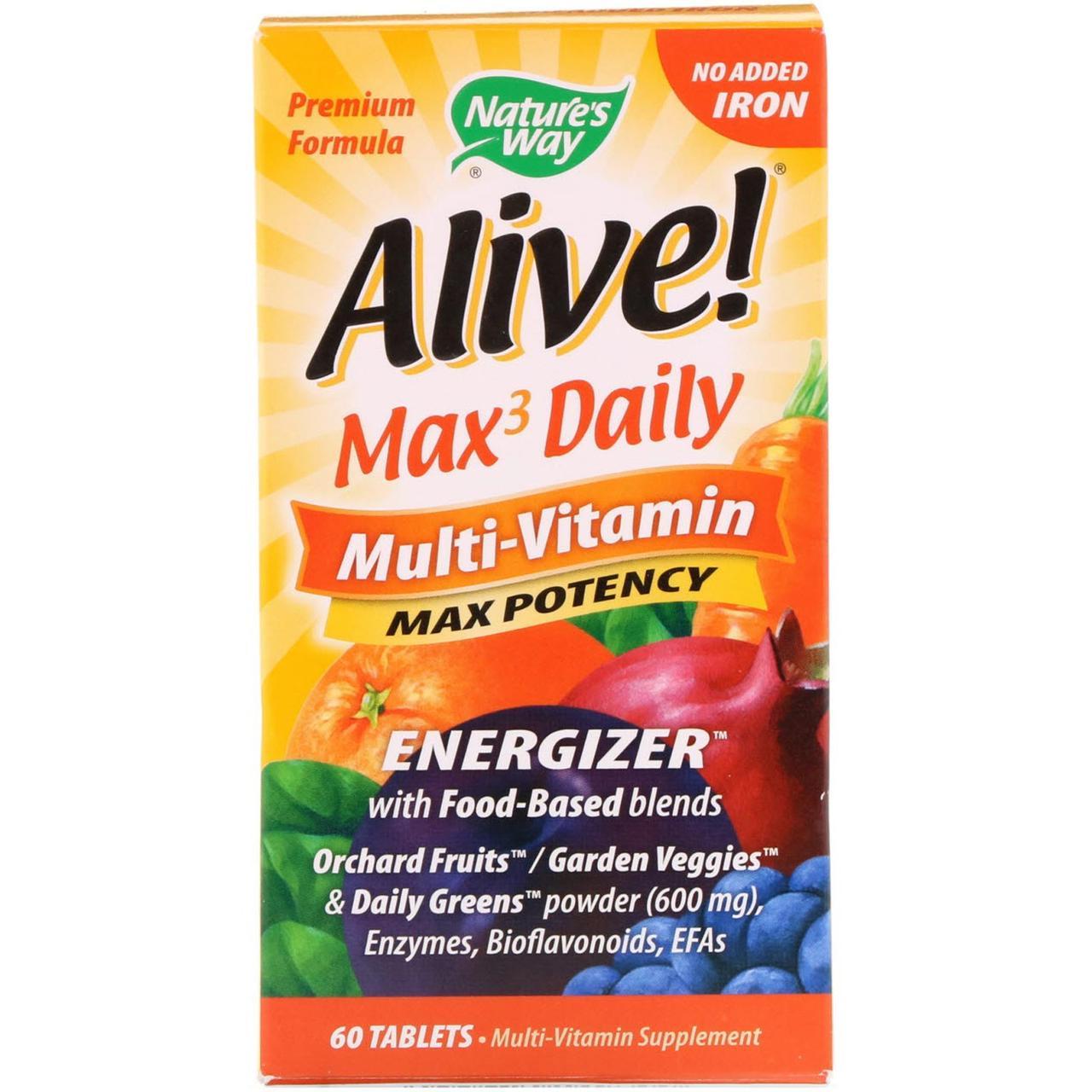 Мультивитамины Nature's Way, Alive! на каждый день, без добавления железа, 60 таблеток