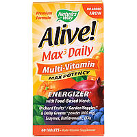 Мультивитамины Nature's Way, Alive! на каждый день, без добавления железа, 60 таблеток, фото 1