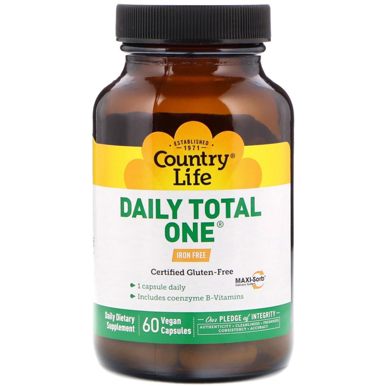 Ежедневный комплекс мультивитаминов и минералов от Country Life, без железа, 60 вегетарианских капсул