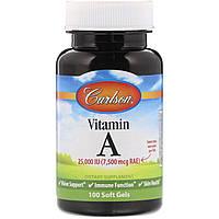 Витамин A 25 000 МЕ Carlson Labs, 100 желатиновых капсул