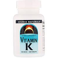 Витамин K  500 мкг, Source Naturals, 200 таблеток