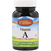 Натуральный витамин A 10,000 МЕ Carlson Labs, 250 гелевых капсул