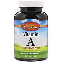 Витамин А с пектином 25000 МЕ Carlson Labs, 300 мягких капсул