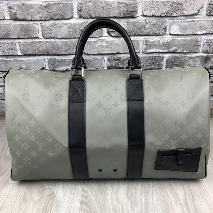 Брендовая дорожная сумка Louis Vuitton серая кожаная Люкс Качество сумка Луи Виттон Модная Красивая реплика