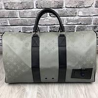 Брендовая дорожная сумка Louis Vuitton серая кожаная Люкс Качество сумка Луи Виттон Модная Красивая реплика, фото 1