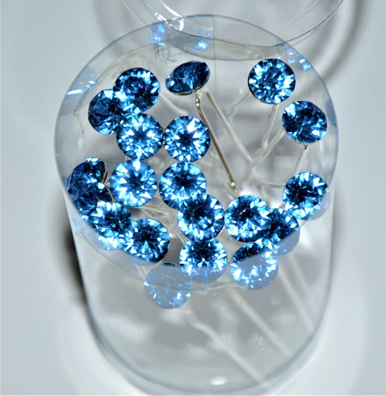 Шпильки для волос крупный камень - голубой (20 шт)