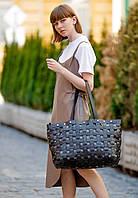 Сумка шоппер женская большая натуральная кожа Krast, пазл черная, фото 1