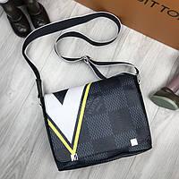 Стильная сумка мессенджер Louis Vuitton серая Люкс Качество мужская сумка через плечо Луи Виттон реплика, фото 1