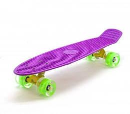 """Пенниборд (Penny Board) """"Classic Logo"""", фиолетовый, зеленые колеса"""