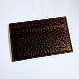 Шкіряний картхолдер на 4 карти міні темно-коричневий, фото 3