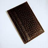 Шкіряний картхолдер на 4 карти міні темно-коричневий, фото 9
