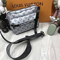 Молодежная сумка мессенджер Louis Vuitton белая Люкс Качество мужская сумка через плечо Луи Виттон реплика, фото 1