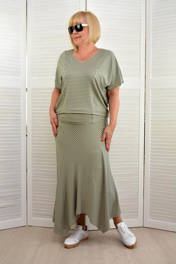 Комплект: Блузон и юбка в полоску - Модель Л353-2+Л354-2