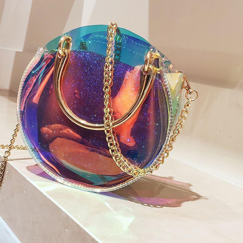 Маленькая женская сумка прозрачная с клатчем на цепочке