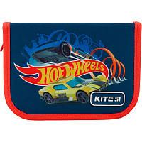 Пенал для школы с наполнением Kite Education Hot Wheels HW19-622H-1, 1 отделение, 2 отворота