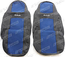 Авточохли DAF XF 105 1+1 2005- (синій) VIP ЛЮКС Nika