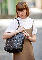 Сумка шоппер женская натуральная кожа Krast, пазл черная, фото 1