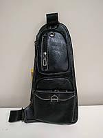 """Мужская сумка на грудь, мини-рюкзак """"Jeep 2 Black"""" , фото 1"""