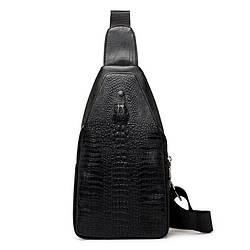 Мужская сумка на одно плечо слинг Alligator Черная / 2799 ViPvse