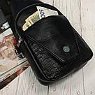 Мужская сумка на одно плечо, слинг Alligator. Черная / 2799 Vsem, фото 9