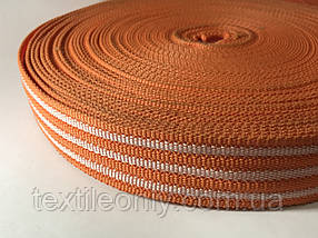 Тасьма сумочная щільна колір оранжевий з смужками 40 мм