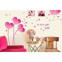 Интерьерная наклейка на стену Цветы Любовь (AY7176A) Код:18856