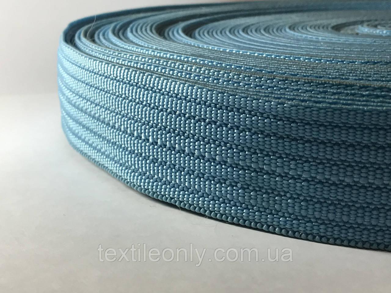 Тесьма сумочная плотная цвет голубой 40 мм