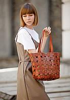 Сумка шоппер женская натуральная кожа Krast, пазл коричневая, фото 1